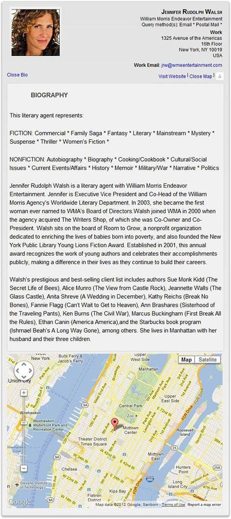 Sample Directory Listing - Memoir Literary Agents
